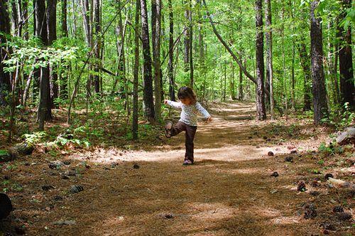 kicking pine cones